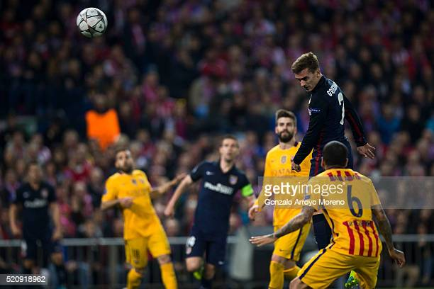 Antoine Griezmann of Atletico de Madrid scores their opening goal during the UEFA Champions League quarter final second leg match between Club...