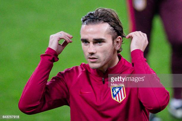Antoine Griezmann of Atletico looks on during the training prior the UEFA Champions League Round of 16 first leg match between Bayer Leverkusen and...