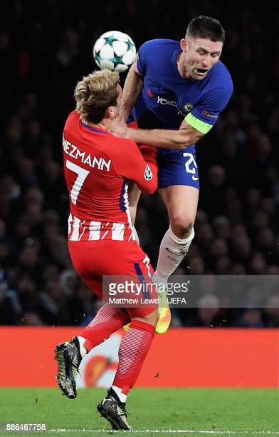 Antoine Griezmann of Atletico Madrid and Gary Cahill of Chelsea during the UEFA Champions League group C match between Chelsea FC and Atletico Madrid...