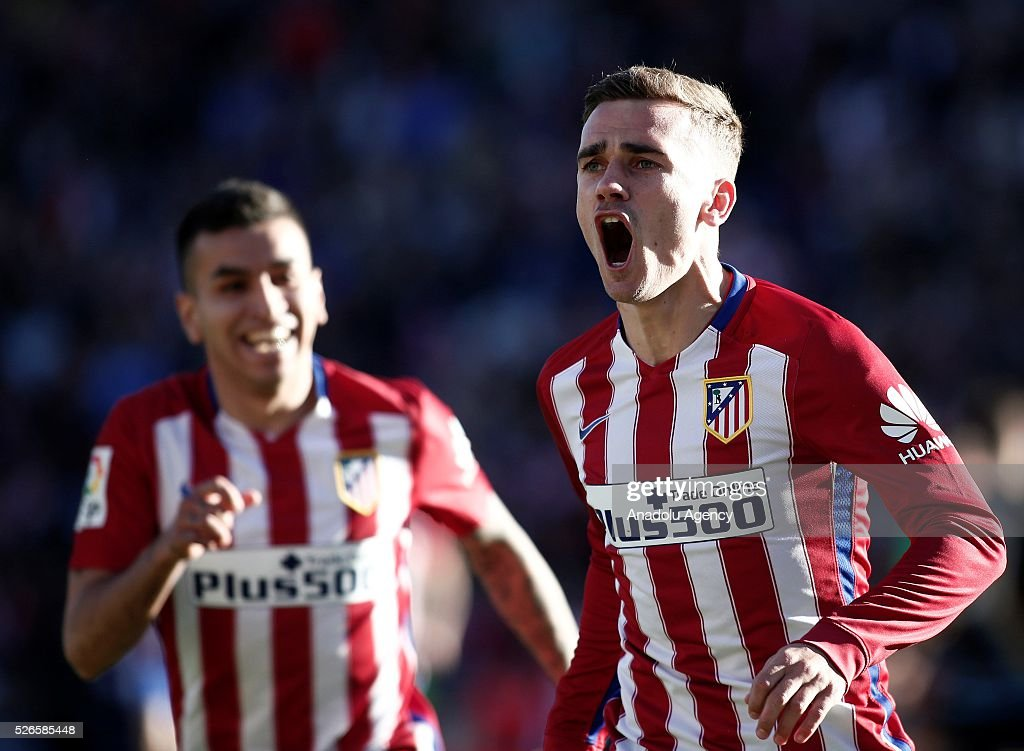 Antoine Griezmann of Atletico Madrid celebrates after scoring a goal during the La Liga football match between Atletico Madrid and Rayo Vallecano at Vicente Calderon, in Madrid, Spain on April 30, 2016.