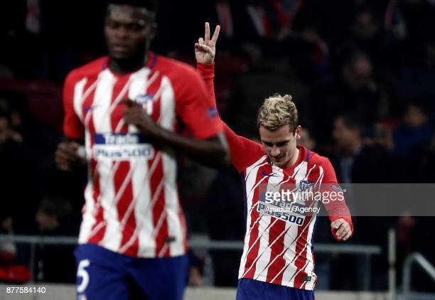 Antoine Griezmann of Atletico Madrid celebrates after scoring a goal during UEFA Champions League Group C soccer match between Atletico Madrid and AS...
