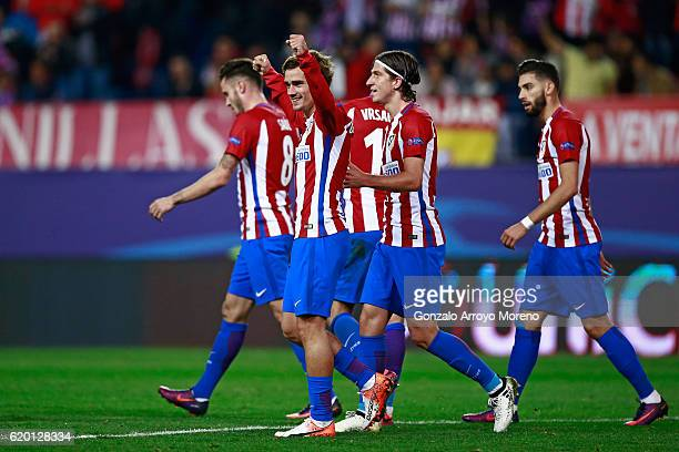 Antoine Griezmann of Atletico Madrid celebrates scoring his sides first goal during the UEFA Champions League Group D match between Club Atletico de...