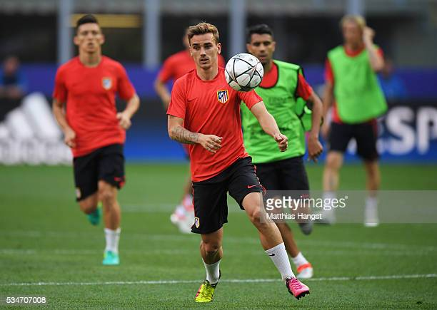 Antoine Griezmann of Atletico Madrid during an Atletico de Madrid training session on the eve of the UEFA Champions League Final against Real Madrid...