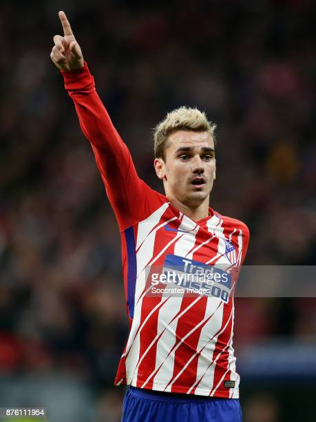 Antoine Griezmann of Atletico Madrid during the Spanish Primera Division match between Atletico Madrid v Real Madrid at the Estadio Wanda...