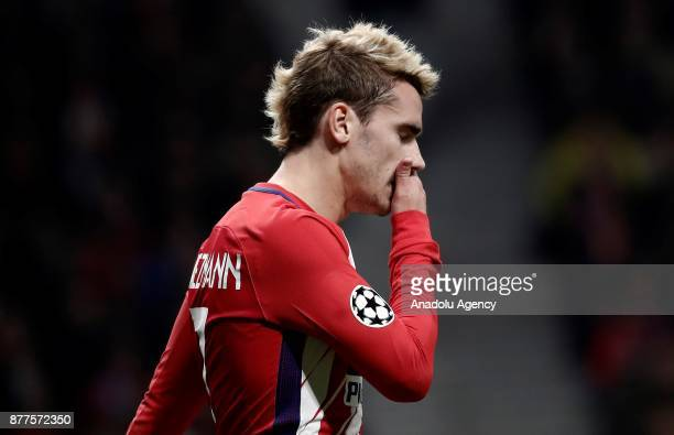 Antoine Griezmann of Atletico Madrid gestures during the UEFA Champions League Group C match between Atletico Madrid and AS Roma at the Metropolitano...