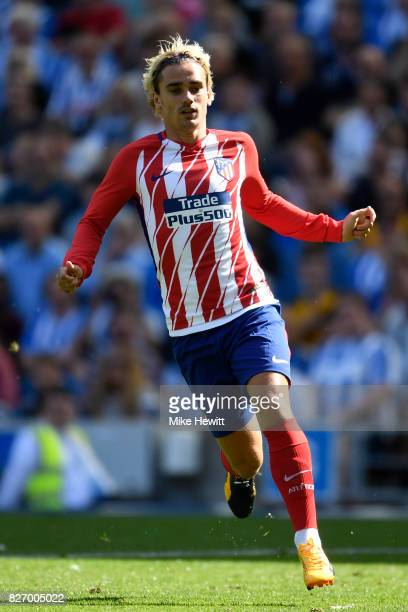 Antoine Griezmann of Atletico Madrid in action during a Pre Season Friendly between Brighton Hove Albion and Atletico Madrid at Amex Stadium on...