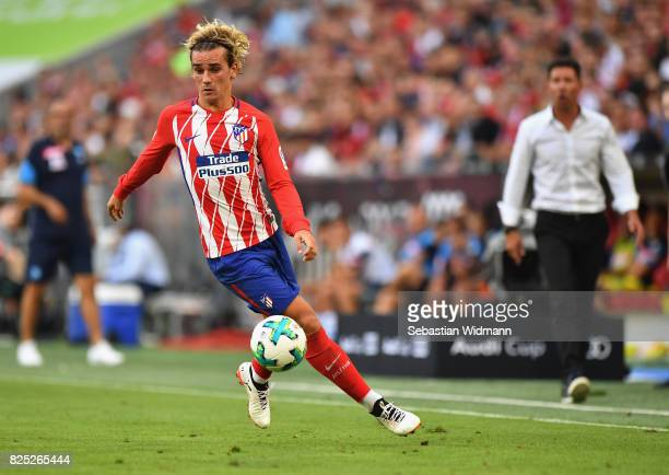 Antoine Griezmann of Atletico Madrid in action during the Audi Cup 2017 match between Club Atletico de Madrid and SSC Napoli at Allianz Arena on...
