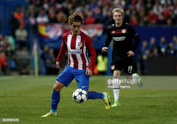 Antoine Griezmann of Atletico Madrid in action during the UEFA Champions League Round of 16 football match between Atletico Madrid and Bayer 04...