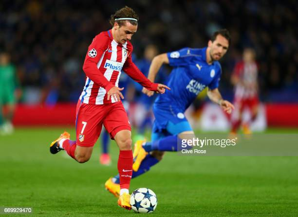 Antoine Griezmann of Atletico Madrid in action during the UEFA Champions League Quarter Final second leg match between Leicester City and Club...