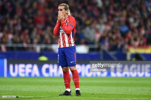 Antoine Griezmann of Atletico Madrid looks dejected during the UEFA Champions League group C match between Atletico Madrid and Qarabag FK at Estadio...