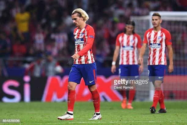 Antoine Griezmann of Atletico Madrid looks dejected following defeat after the UEFA Champions League group C match between Atletico Madrid and...