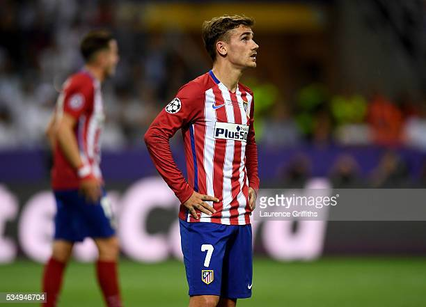 Antoine Griezmann of Atletico Madrid looks on during the UEFA Champions League Final match between Real Madrid and Club Atletico de Madrid at Stadio...
