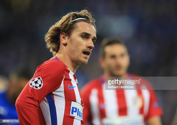 Antoine Griezmann of Atletico Madrid looks on during the UEFA Champions League Quarter Final second leg match between Leicester City and Club...