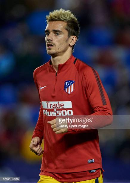 Antoine Griezmann of Atletico Madrid looks on prior the La Liga match between Levante and Atletico Madrid at Ciutat de Valencia Stadium on November...