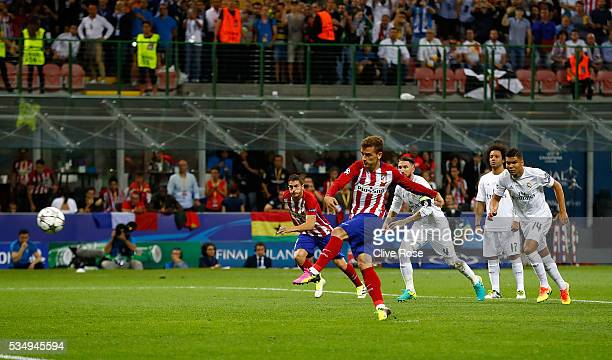 Antoine Griezmann of Atletico Madrid missing a penalty during the UEFA Champions League Final match between Real Madrid and Club Atletico de Madrid...