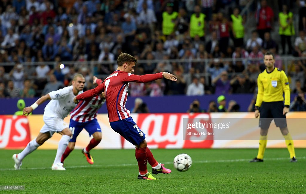 <a gi-track='captionPersonalityLinkClicked' href=/galleries/search?phrase=Antoine+Griezmann&family=editorial&specificpeople=7197539 ng-click='$event.stopPropagation()'>Antoine Griezmann</a> of Atletico Madrid missing a penalty during the UEFA Champions League Final match between Real Madrid and Club Atletico de Madrid at Stadio Giuseppe Meazza on May 28, 2016 in Milan, Italy.