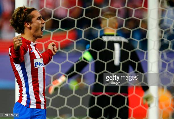 Antoine Griezmann of Atletico Madrid 'n celebrates after scoring his team`s first goal during the UEFA Champions League Quarter Final first leg match...
