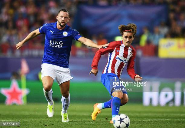 Antoine Griezmann of Atletico Madrid passes under pressure from Danny Drinkwater of Leicester City during the UEFA Champions League Quarter Final...