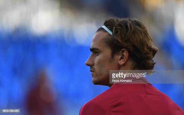 Antoine Griezmann of Atletico Madrid pictured during a training session at The King Power Stadium on April 17 2017 in Leicester England