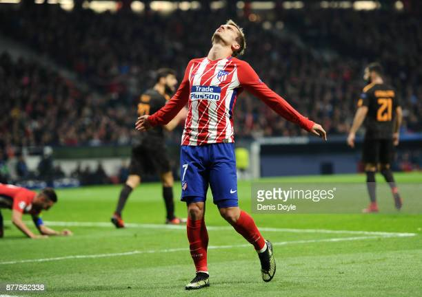 Antoine Griezmann of Atletico Madrid reacts during the UEFA Champions League group C match between Atletico Madrid and AS Roma at Wanda Metropolitano...