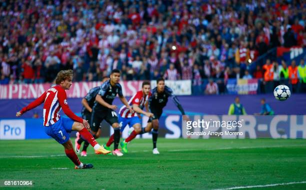 Antoine Griezmann of Atletico Madrid scores from the penalty spot for his team's second goal during the UEFA Champions League Semi Final second leg...