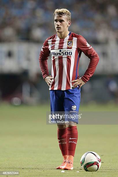 Antoine Griezmann of Atletico Madrid waits to take a penalty against Sagan Tosu FC during the friendly match between Atletico Madrid and Sagan Tosu...