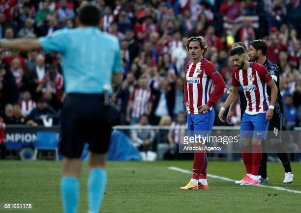 Antoine Griezmann of Atletico Madrid waits to use penalty kick during the UEFA Champions League semi final second leg match between Atletico Madrid...