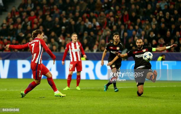 Antoine Griezmann of Atletico scores the 2nd goal during the UEFA Champions League Round of 16 first leg match between Bayer Leverkusen and Club...