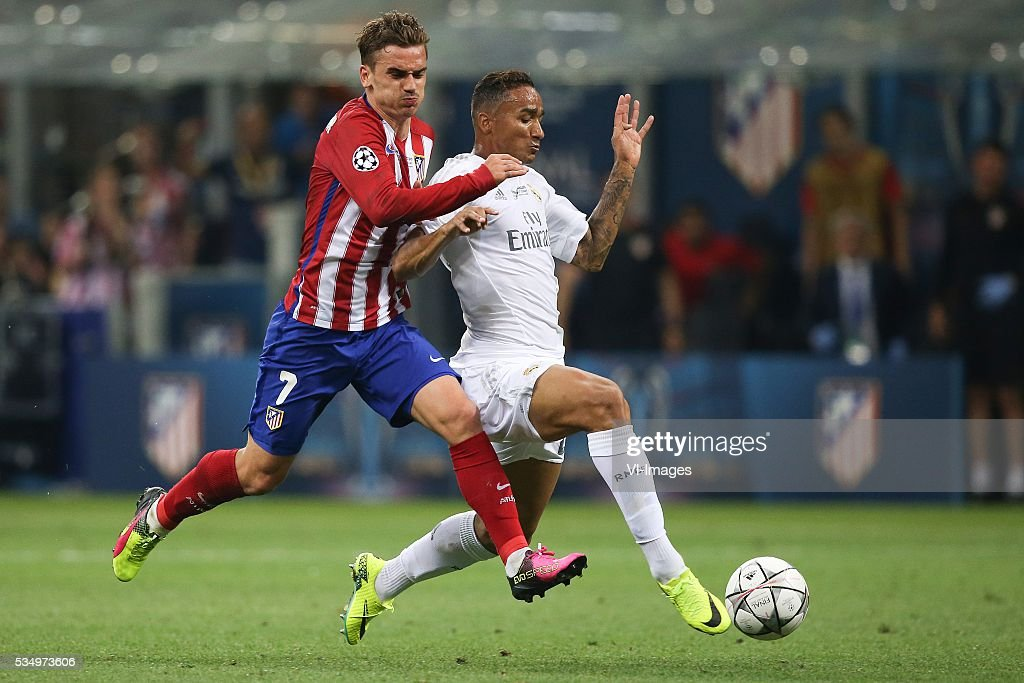 Antoine Griezmann of Club Atletico de Madrid, Danilo of Real Madrid during the UEFA Champions League final match between Real Madrid and Atletico Madrid on May 28, 2016 at the Giuseppe Meazza San Siro stadium in Milan, Italy.