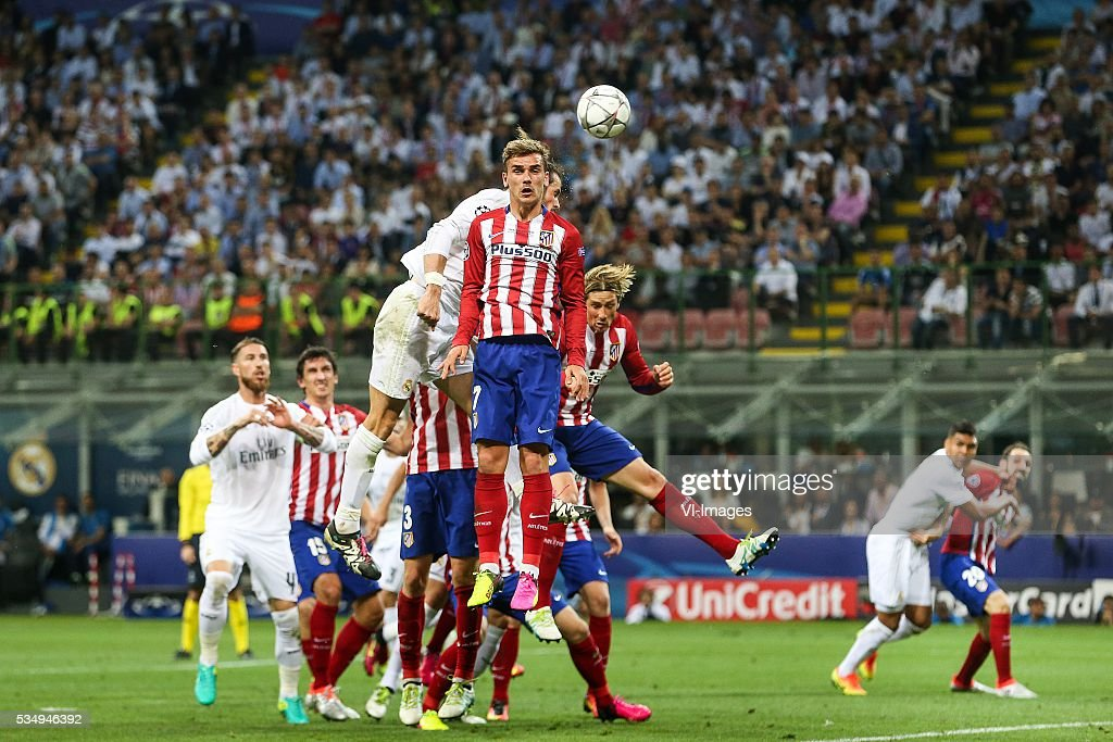 Antoine Griezmann of Club Atletico de Madrid, Gareth Bale of Real Madrid, Fernando Torres of Club Atletico de Madrid, during the UEFA Champions League final match between Real Madrid and Atletico Madrid on May 28, 2016 at the Giuseppe Meazza San Siro stadium in Milan, Italy.