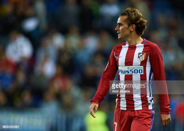 Antoine Griezmann of Club Atletico de Madrid looks on during La Liga match between Malaga CF and Club Atletico de Madrid at La Rosaleda Stadium April...