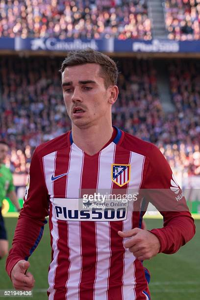 Antoine Griezmann of Club Atletico de Madrid looks on during the La Liga match between Club Atletico de Madrid and Granada CF at Vicente Calderon...