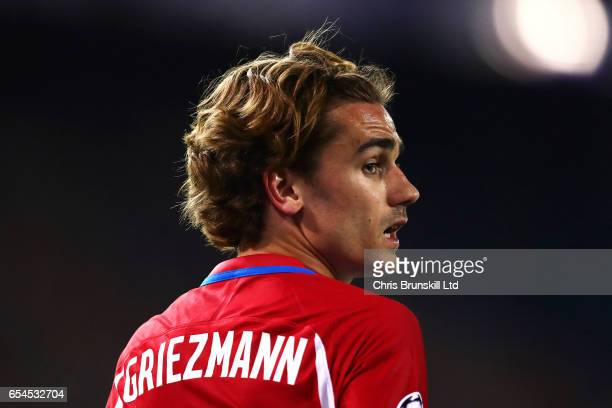 Antoine Griezmann of Club Atletico de Madrid looks on during the UEFA Champions League Round of 16 second leg match between Club Atletico de Madrid...