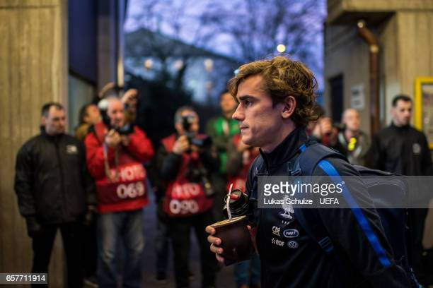 Antoine Griezmann of France arrives prior to the FIFA 2018 World Cup Qualifier between Luxembourg and France at Stade Josy Barthel on March 25 2017...