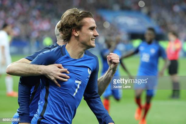 Antoine Griezmann of France celebrate his disallowed goal during the Friendly game between France and Spain at Stade de France on march 28 2017 in...