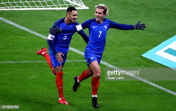 Antoine Griezmann of France celebrate his goal with Layvin Kurzawa during the friendly match between France and Wales at Stade de France on November...