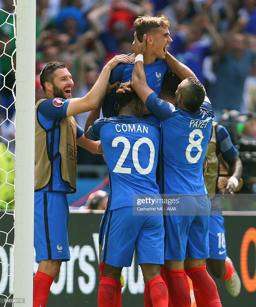Antoine Griezmann of France celebrates after he scores a goal to make it 2-1 during the UEFA EURO 2016 Round of 16 match between France and Republic of Ireland at Stade des Lumieres on June 26, 2016 in Lyon, France.