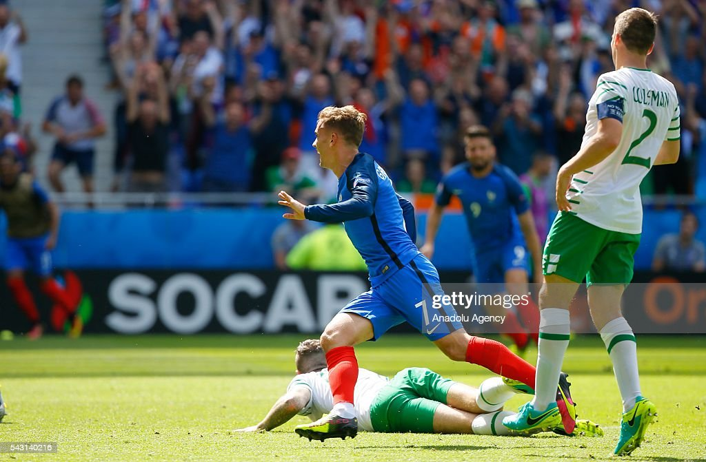 Antoine Griezmann (7) of France celebrates after scoring a goal during the UEFA Euro 2016 Round of 16 football match between France and Ireland at the Stade de Lyon in Lyon, France on June 26, 2016.