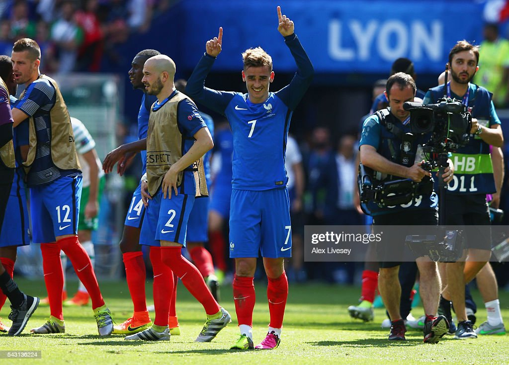<a gi-track='captionPersonalityLinkClicked' href=/galleries/search?phrase=Antoine+Griezmann&family=editorial&specificpeople=7197539 ng-click='$event.stopPropagation()'>Antoine Griezmann</a> of France celebrates his team's 2-1 win in the UEFA EURO 2016 round of 16 match between France and Republic of Ireland at Stade des Lumieres on June 26, 2016 in Lyon, France.