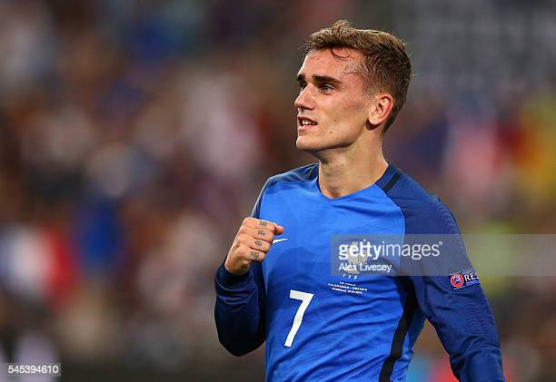 Antoine Griezmann of France celebrates scoring his team's second goal during the UEFA EURO semi final match between Germany and France at Stade...
