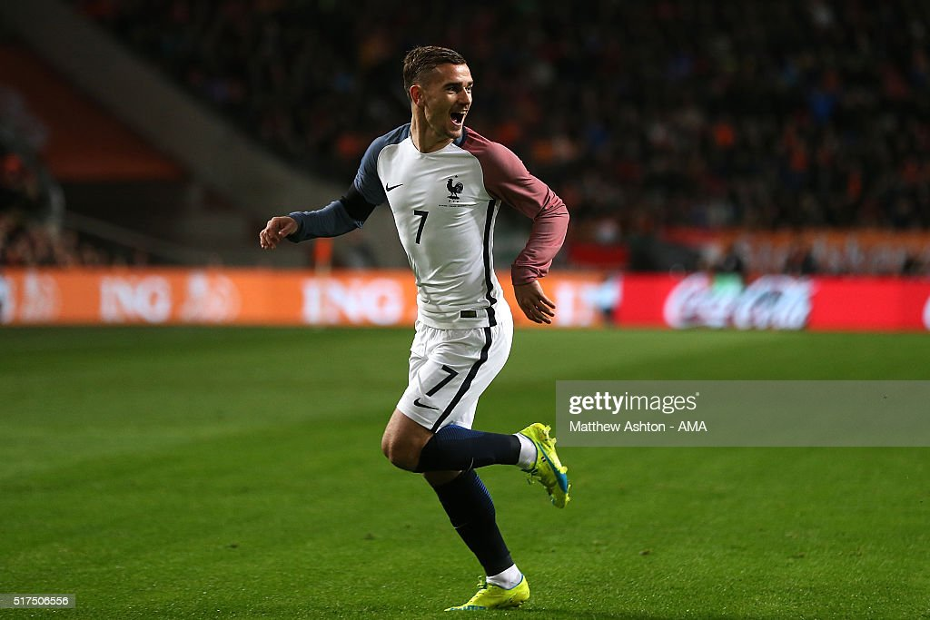Antoine Griezmann of France celebrates scoring the opening goal during the International Friendly match between Netherlands and France at Amsterdam Arena on March 25, 2016 in Amsterdam, Netherlands.