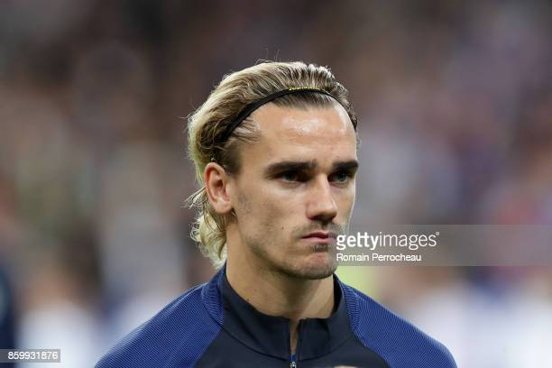 Antoine Griezmann of France during the National anthem before the FIFA 2018 World Cup Qualifier between France and Belarus at Stade de France on...