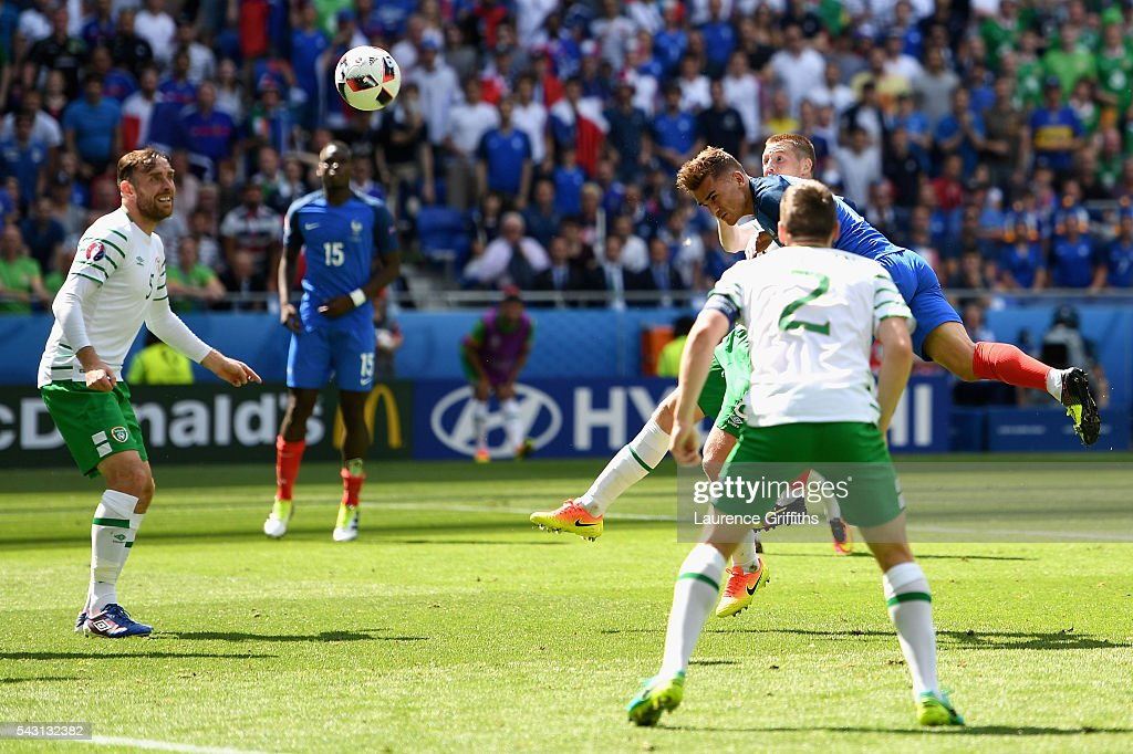 <a gi-track='captionPersonalityLinkClicked' href=/galleries/search?phrase=Antoine+Griezmann&family=editorial&specificpeople=7197539 ng-click='$event.stopPropagation()'>Antoine Griezmann</a> of France heads the ball to score his team's first goal during the UEFA EURO 2016 round of 16 match between France and Republic of Ireland at Stade des Lumieres on June 26, 2016 in Lyon, France.