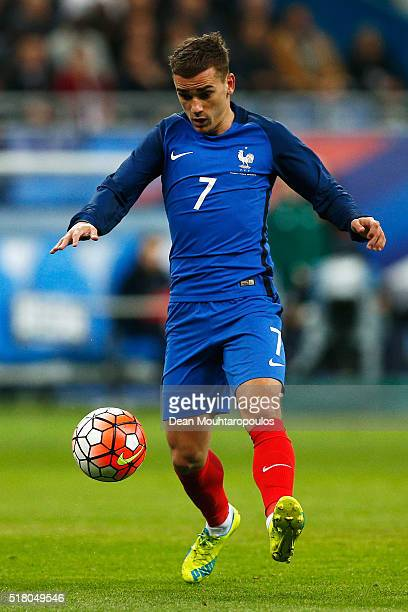 Antoine Griezmann of France in action during the International Friendly match between France and Russia held at Stade de France on March 29 2016 in...