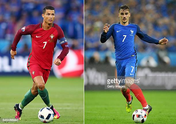 COMPOSITE OF TWO IMAGES Image numbers 540171428 and 544406362 In this composite image a comparision has been made between Cristiano Ronaldo of...