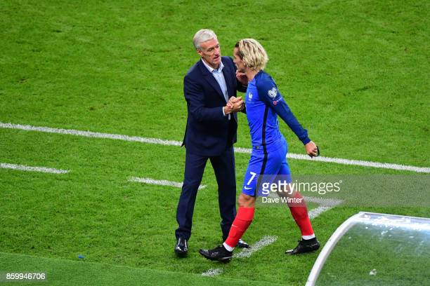 Antoine Griezmann of France is substituted by France coach Didier Deschamps during the Fifa 2018 World Cup qualifying match between France and...