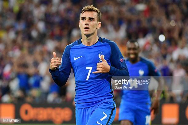 Antoine Griezmann of France of France celebrates his second goal during the Uefa Euro Semi final between France and Germany at Stade Velodrome at...