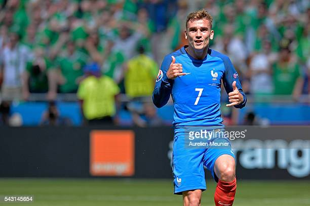 Antoine Griezmann of France reacts after scoring during the UEFA Euro 2016 round of 16 match between France and the Republic of Ireland at Stade des...