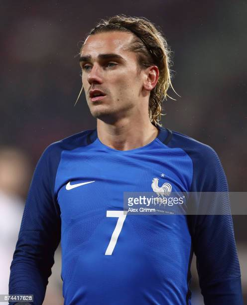 Antoine Griezmann of France reacts during the international friendly match between Germany and France at RheinEnergieStadion on November 14 2017 in...