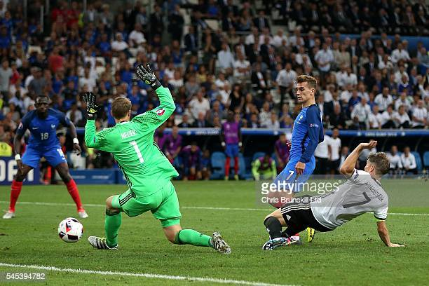 Antoine Griezmann of France scores his side's second goal during the UEFA Euro 2016 Semi Final match between Germany and France at Stade Velodrome on...